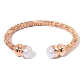 Designer Inspired Fresh Water White Pearl (11mm) Torque Mesh Bangle (Size 7.5) in Rose Gold Tone
