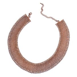 White Austrian Crystal Choker Necklace (Size 18 with 2 inch Extender) in Rose Gold Tone