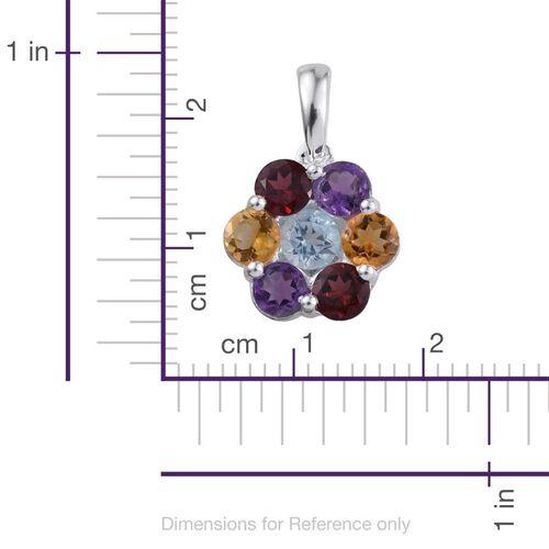 Sky Blue Topaz (Rnd), Rhodolite Garnet, Citrine and Amethyst Floral Pendant in Sterling Silver 2.750 Ct.