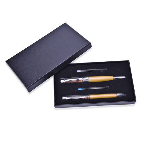 Set of 2 - Golden Crystals filled Golden Colour Pen (Black Ink), 1 Pen with 16GB USB and 2 Extra Refills (Blue Ink) in a Box