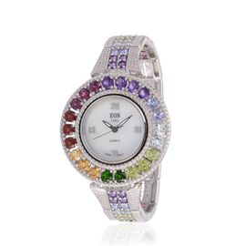 Rhodium Plated Sterling Silver (Wt 40 Gram] EON 1962 Swiss Movement (Tanzanite, Peridot, Diopside, Garnet, Citrine and Swiss Blue Topaz) Watch in  12.274 Ct.