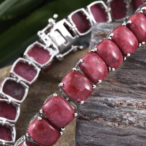Norwegian Thulite (Cush) Tennis Bracelet (Size 7.5) in Platinum Overlay Sterling Silver 75.000 Ct. Silver wt 18.31 Gms.