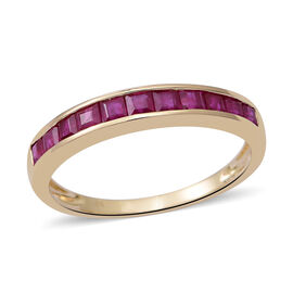 9K Yellow Gold AAA Burmese Ruby (Princess) Half Eternity Ring 1.250 Ct.