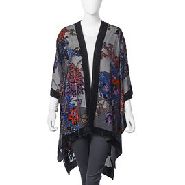 Designer Inspired-Black, Orange and Multi Colour Rose Flower Pattern Kimono (Free Size)