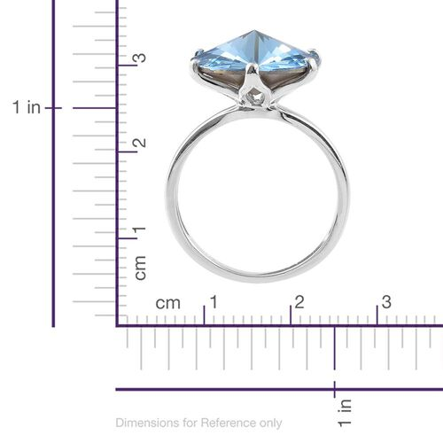 J Francis Crystal from Swarovski - Aquamarine Colour Crystal (Rnd) Solitaire Ring in Platinum Overlay Sterling Silver