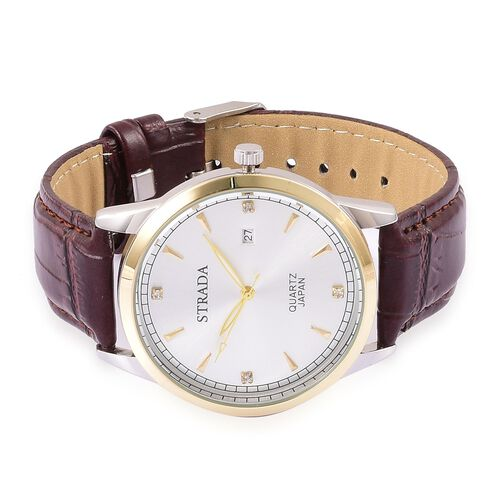 STRADA Japanese Movement White Austrian Crystal Studded Dial Watch in Yellow Gold and Silver Tone with Stainless Steel Back and Chocolate Strap