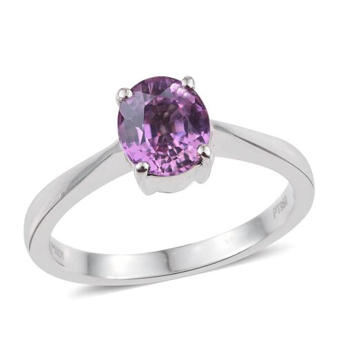 RHAPSODY 950 Platinum 1.50 Carat AAAA Pink Sapphire Oval Solitaire Ring.