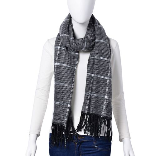 Close Out Deal - Italian Designer Black and Grey Colour Checks Pattern Scarf with Tassels (Size 190X87 Cm)