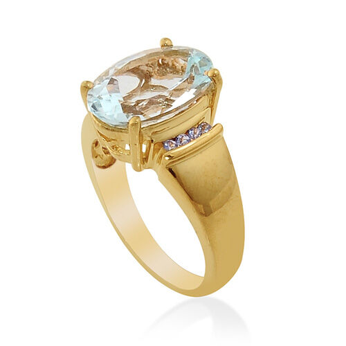Espirito Santo Aquamarine (4.50 Ct)Tanzanite 14K Gold Overlay Sterling Silver Ring  4.615  Ct.