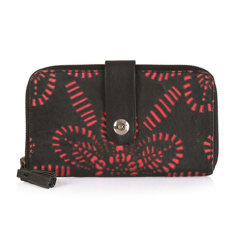 Genuine Leather Black and Pink Colour Laser Cut Pattern Wallet (Size 20x12 Cm)