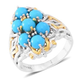AA Arizona Sleeping Beauty Turquoise (Rnd) Ring in Yellow Gold and Rhodium Plated Sterling Silver 3.500 Ct. Silver wt 7.40 Gms.