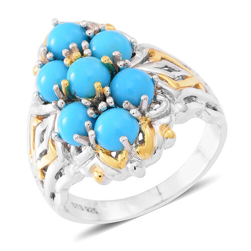 AA Arizona Sleeping Beauty Turquoise (Rnd) Ring in Yellow Gold and Rhodium Plated Sterling Silver 3.500 Ct.