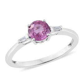 9K White Gold 1 Carat AA Pink Sapphire Ring with Diamond (I3/G-H)