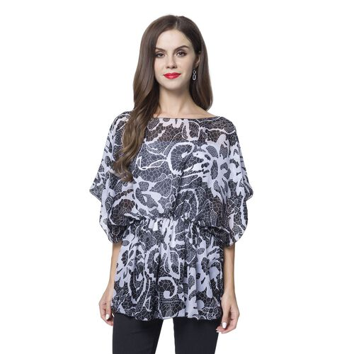 Black and White Colour Floral Pattern Poncho (Free Size)