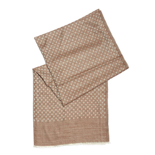 100% Cashmere Wool Chocolate and Grey Colour Polka Dots Pattern Scarf with Fringes (Size 200X70 Cm)