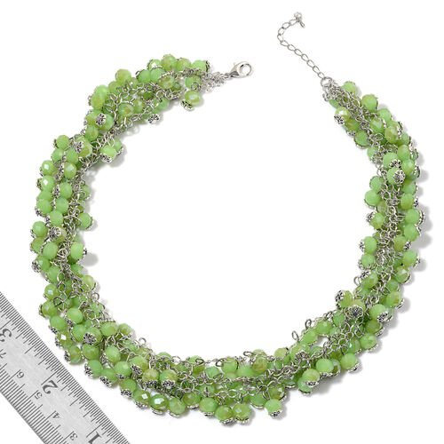 Simulated Peridot Necklace (Size 18 with 2 inch Extender) and Lever Back Earrings in Silver Tone