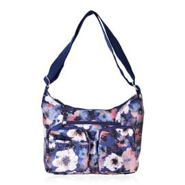 Floral Pattern Crossbody Water Resistant Bag with Multi Pockets and Adjustable Strap (Size 33x22x11)