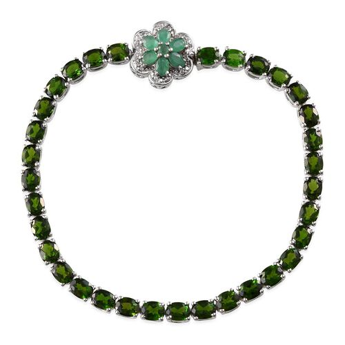Russian Diopside (Ovl), Kagem Zambian Emerald and White Topaz Floral Bracelet (Size 7.5) in Platinum Overlay Sterling Silver 14.350 Ct.