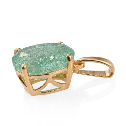 Emerald Green Crackled Quartz (Ovl) Solitaire Pendant in 14K Gold Overlay Sterling Silver 3.000 Ct.