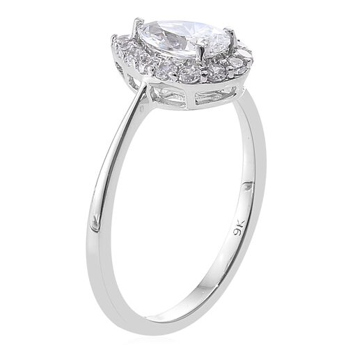 J Francis - 9K White Gold Pear Halo Ring Made with SWAROVSKI ZIRCONIA