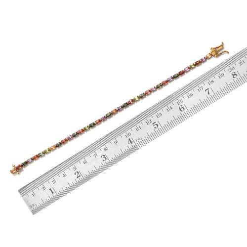 Multi Sapphire 11 Carat Silver Tennis Bracelet in 14K Gold Overlay (Size 7.5)