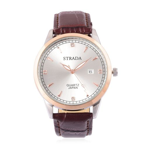 STRADA Japanese Movement White Austrian Crystal Studded Watch in Rose and Silver Tone with Chocolate Strap