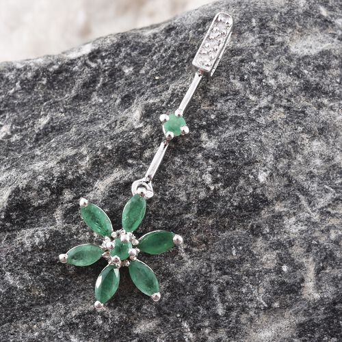 Kagem Zambian Emerald (Rnd), Diamond Floral Pendant in Platinum Overlay Sterling Silver 1.000 Ct.