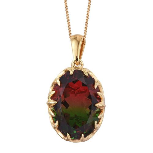 Bi-Color Tourmaline Quartz (Ovl) Pendant With Chain in 14K Gold Overlay Sterling Silver 13.500 Ct.