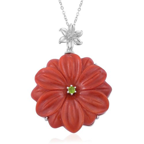 Red Jade and Russian Diopside Floral Pendant With Chain in Platinum Overlay Sterling Silver 56.900 Ct.