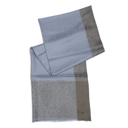 100% Cashmere Wool Blue Colour Self Pattern Scarf (Size 200x70 Cm)