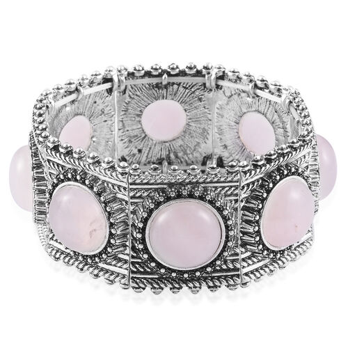 Rose Quartz Bracelet in Silver Tone (Size 7) 10.000 Ct.