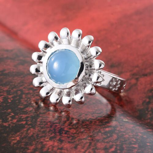 Namibian Blue Chalcedony 2.75 Ct Silver Floral Ring in Platinum Overlay