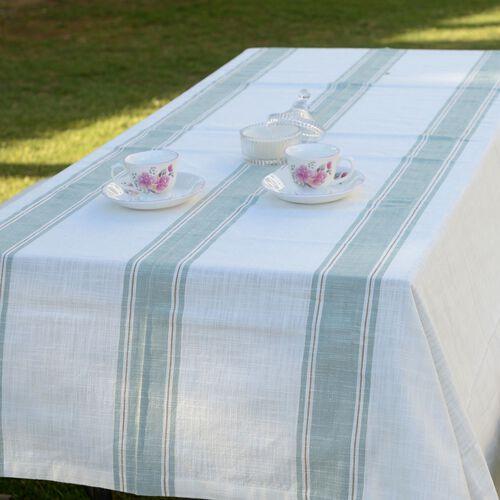 100% Cotton Olive Green Colour Stripe Pattern White Colour Table Cover (Size 260x180 Cm)