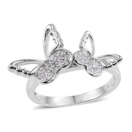 Kimberley Butterfly Collection Natural Cambodian Zircon (Rnd) Butterfly Ring in Platinum Overlay Sterling Silver