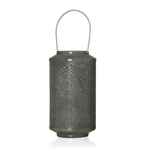 (Option 1) Home Decor - Grey Colour Laser Cut Floral Pattern Lantern with LED T Light