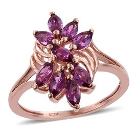 Rare Mozambique Grape Colour Garnet (Mrq) Ring in Rose Gold Overlay Sterling Silver 1.750 Ct.