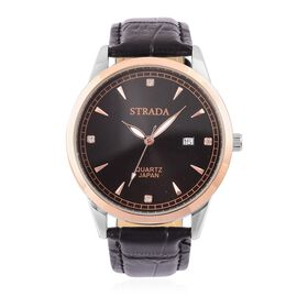 STRADA Japanese Movement White Austrian Crystal Studded Dial Watch in Rose Gold and Silver Tone with Stainless Steel Back and Black Strap