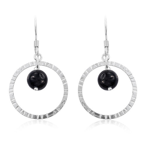 Black Jade Diamond Cut Hook Earrings in Sterling Silver 8.770 Ct.