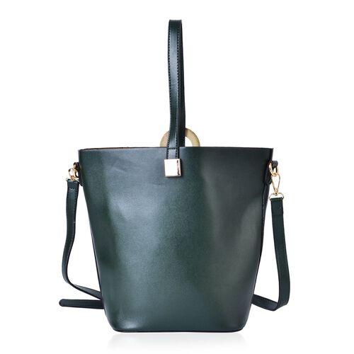 Set of 2 - Dark Green Colour Large Size Handbag with Adjustable and Removable Shoulder Strap (Size 33x28x21x13 Cm) and Mustard Colour Small Handbag (Size 22x18x15x10 Cm)