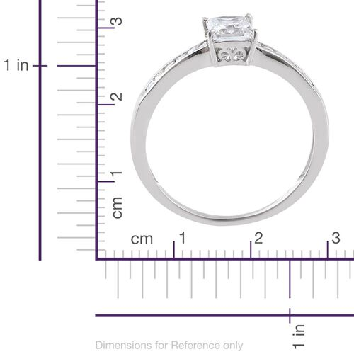 J Francis - Platinum Overlay Sterling Silver (Princess Cut) Ring Made with SWAROVSKI ZIRCONIA