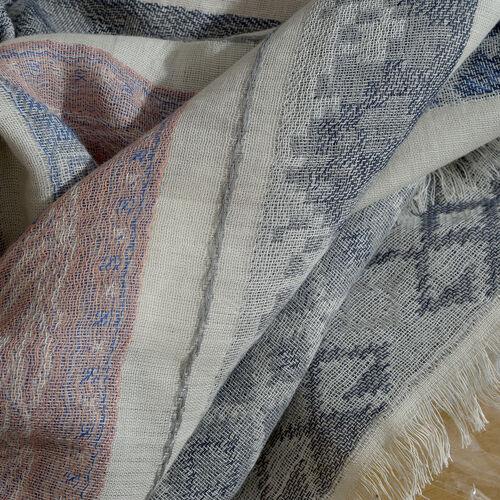 50% Cotton Blended Multi Colour Stripe Jacquard Weave Scarf (Size 180x70 Cm)