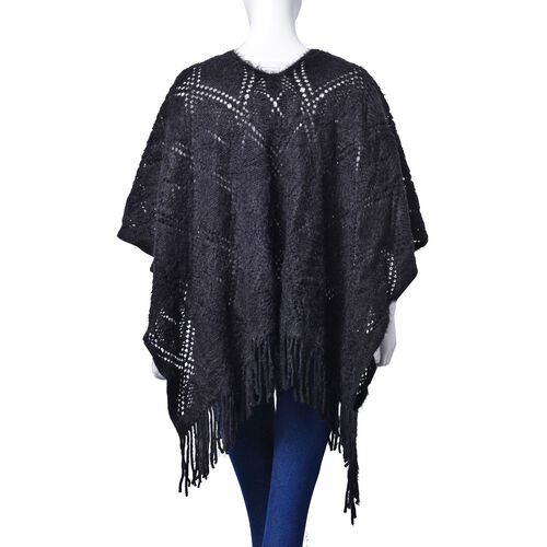Black Colour Diamond and Floral Pattern Poncho (Size 90x60 Cm)