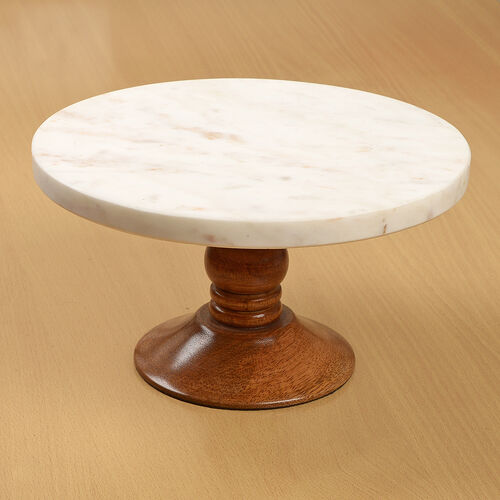 Circular Shape Marble Surface Wooden Cake Stand (Size 23X13X11.5 Cm)