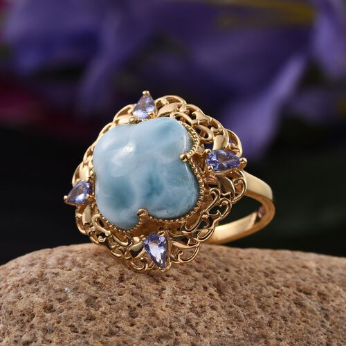 Stefy Larimar, Tanzanite and Pink Sapphire Ring in 14K Gold Overlay Sterling Silver 13.000 Ct.