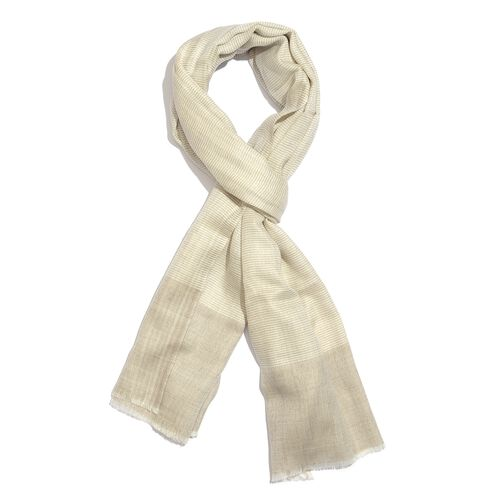 100% Cashmere Wool Off White and Grey Colour Scarf with Fringes (Size 200X70 Cm)