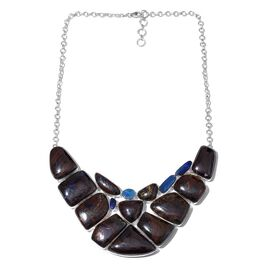 One Off A Kind- Boulder Opal Rock and Opal Double Necklace (Size 18 with 1 inch Extender) in Sterling Silver 333.651 Ct. Silver wt 40.07 Gms.