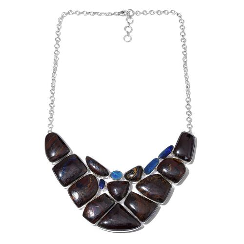 Boulder Opal Rock and Opal Double Necklace (Size 18 with 1 inch Extender) in Sterling Silver 333.651 Ct.
