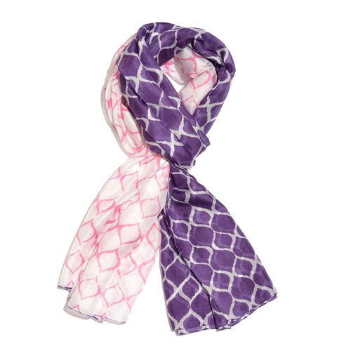100% Mulberry Silk Purple, Pink and White Colour Hand Screen Wavy Grid Printed Scarf (Size 200X180 Cm)