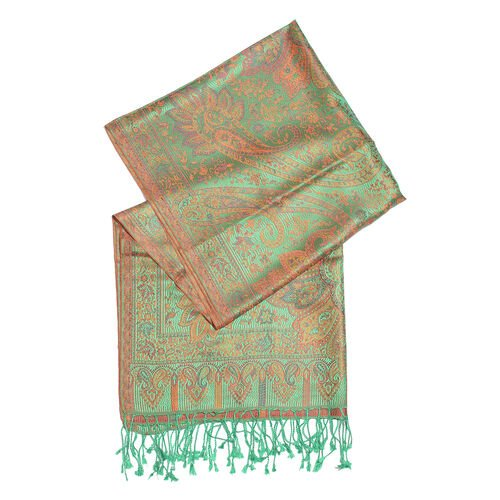 SILK MARK - 100% Superfine Silk Green, Orange and Multi Colour Paisley Pattern Jacquard Jamawar Scarf with Tassels (Size 180X70 Cm) (Weight 125 to 140 Gm)