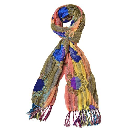 Yellow, Green and Multi Colour Floral Pattern Reversible Scarf with Tassels (Size 170X30 Cm)